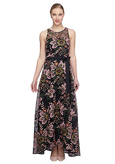 Tahari ASL Floral Embroidered Gown