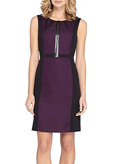 Tahari ASL Colorblock Ponte Sheath Dress
