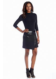 Drop-waist Dress with Faux Leather Trim