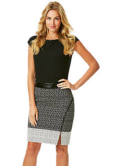 Laundry by Shelli Segal Cap-Sleeve Printed Sheath Dress