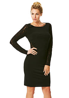 Laundry by Shelli Segal Long-Sleeve Sheath Dress with Lace