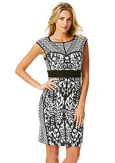 Laundry by Shelli Segal Printed Ponte Sheath Dress