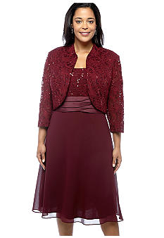 RM Richards Plus Size Sequin and Lace Jacket Dress