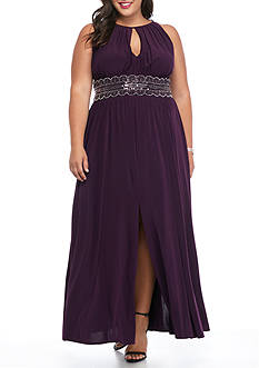 RM Richards Plus Size Beaded Waist Halter Gown