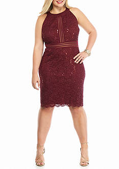 RM Richards Plus Size Plus Size Lace and Glitter Halter Cocktail Dress