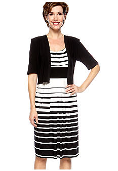 RM Richards Petite Striped Jacket Dress