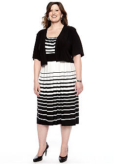 RM Richards Plus Size Striped Jacket Dress