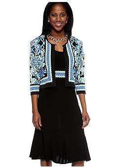 RM Richards Petite Three-Quarter Sleeved Jacket Dress