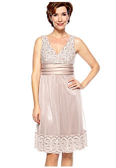 RM Richards Plus Size Sleeveless Lace and Sequins Dress