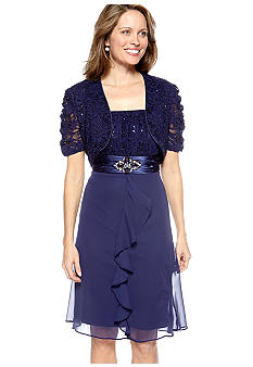 RM Richards Short Sleeved Lace and Sequins Jacket Dress