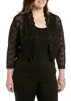 RM Richards Plus Size Long-Sleeve Lace Shrug
