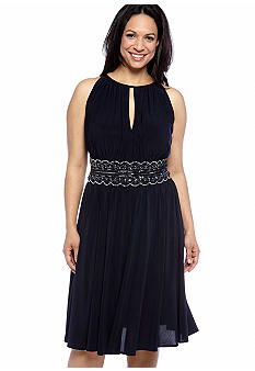 RM Richards Plus Size Halter Cocktail Dress