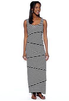 RM Richards Petite Sleeveless Stripe Maxi Dress