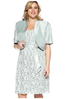 RM Richards Plus Size Short-Sleeved Bolero Jacket Dress