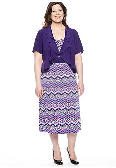 RM Richards Plus Size Short-Sleeved Jacket Dress