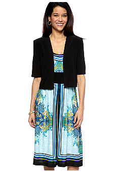 RM Richards Petite A-Line Placed Print Dress