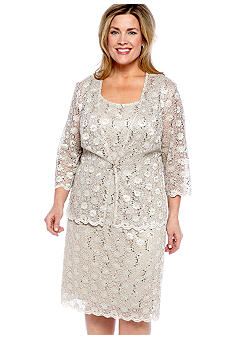 RM Richards Plus Size Stretch Lace Jacket Dress