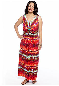 RM Richards Plus Size Sleeveless Printed Maxi Dress