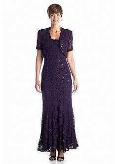 RM Richards Allover Lace and Sequin Gown with Bolero Jacket