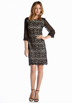 RM Richards Lace Sheath Dress with Sequin