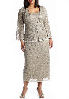 RM Richards Plus Size Three-Quarter Sleeve Jacket Dress