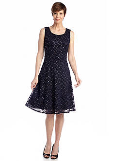 RM Richards Sleeveless Lace Fit and Flare Dress with Sequin