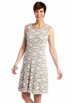 RM Richards Sleeveless Fit and Flare Lace Dress