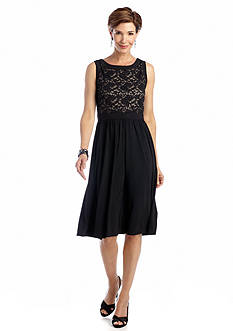 RM Richards Sleeveless Fit and Flare Dress with Sequin and Lace