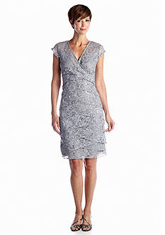 RM Richards Allover Lace Empire-waist Cocktail Dress