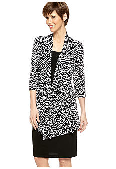 RM Richards Three-Quarter Sleeved Printed Mock Jacket Dress