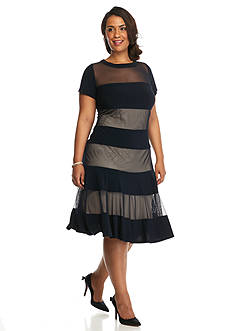 RM Richards Plus Size Sheer Panel Fit and Flare Dress
