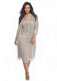 Rabbit Rabbit Rabbit Plus Size Lace and Sequin Jacket Dress