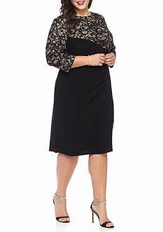 RM Richards Plus Size Lace and Sequin Jersey Sheath Dress