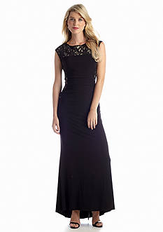 RM Richards Cap-Sleeve Gown with Lace