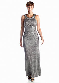 RM Richards Beaded Neck Shimmer Gown