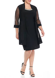RM Richards Plus Size Elongated Jacket Dress