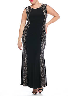 RM Richards Plus Size Jersey Gown with Lace and Sequin Side Panels