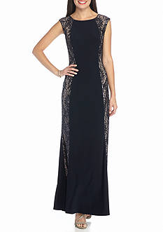 RM Richards Jersey Gown with Lace and Sequin Side Panels