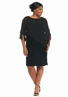 RM Richards Plus Size Plus Size Fringe Capelet Overlay Dress