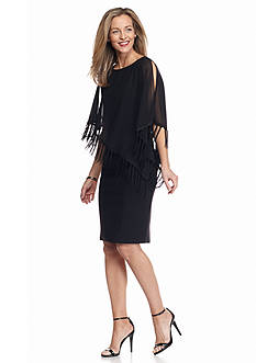 RM Richards Fringe Trim Capelet Sheath Dress