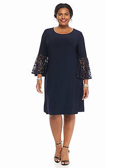 RM Richards Plus Size Plus Size Bell-Sleeve Shift Dress
