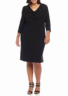 RM Richards Plus Size Cow-Neck with Fringe Shift Dress