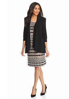 RM Richards Elongated Mock Jacket Dress with Necklace