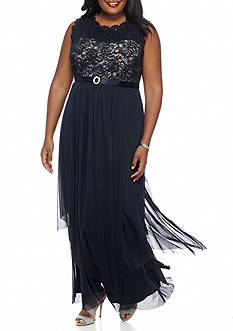 RM Richards Plus Size Lace Bodice Belted Gown