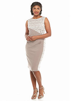 RM Richards Plus Size Mixed Media Sheath Dress with Sequin