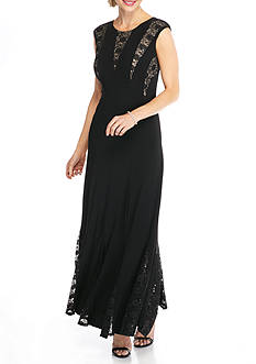 RM Richards Lace and Sequin Panel Jersey Gown