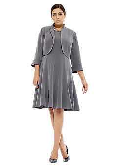 RM Richards Plus Size Fit & Flair Jacket Dress