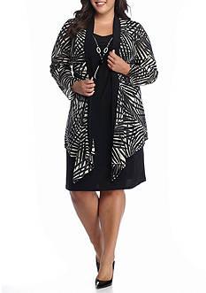 RM Richards Plus Size Plus Size Flyaway Printed Jacket Dress with Necklace