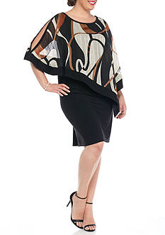 RM Richards Plus Size Dress with Printed Sheer Overlay