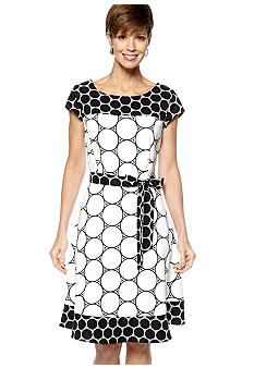 Kim Rogers Cap-Sleeved Printed Dress